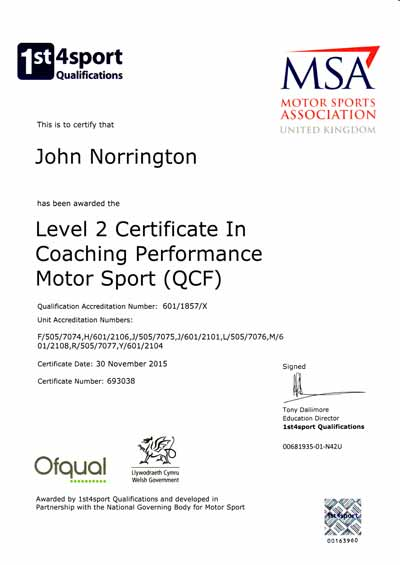 John Norrington MSA Coaching Certificate