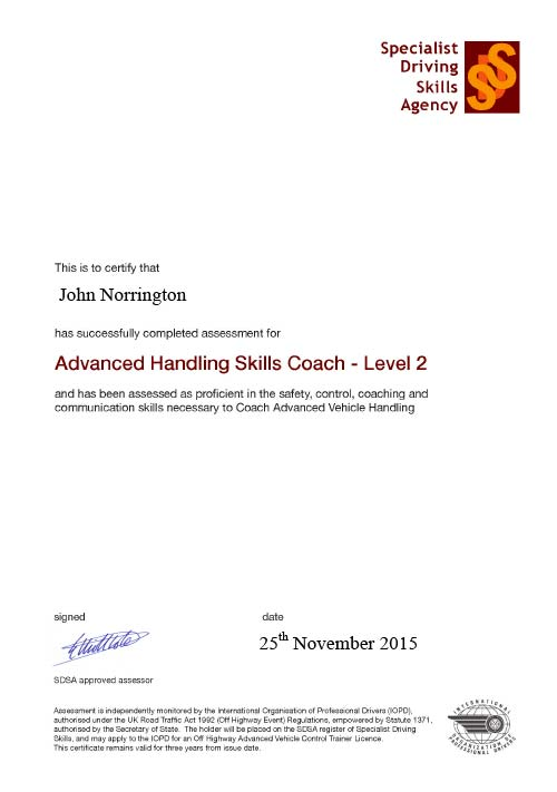 SDSA Advanced Handling certificate