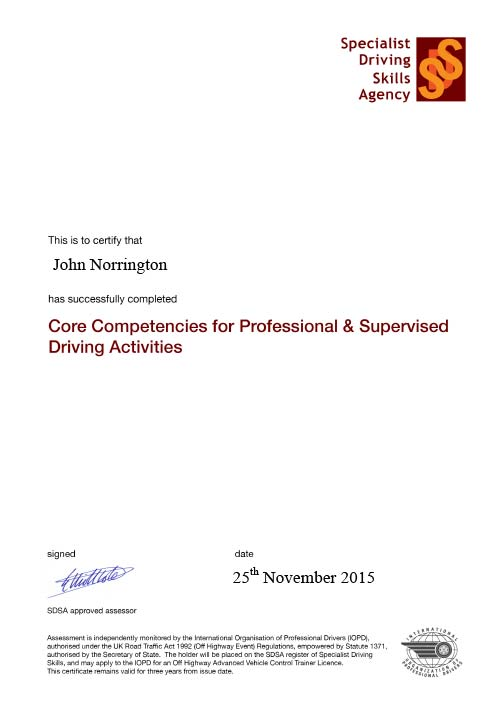 SDSA Core Competencies certificate